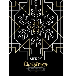 Merry christmas new year snowflake gold deco retro vector