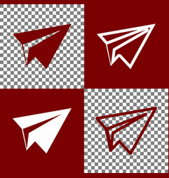 Paper airplane sign bordo and white icons vector