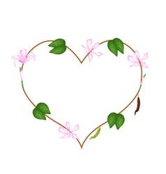 Pink Bauhinia Purpurea Flowers in A Heart Shape vector image vector image