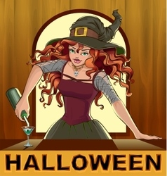 Redhead beautiful pretty witch girl pours vector