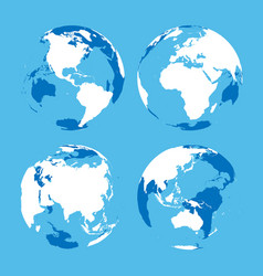 set of transparent earth globes with blue and vector image