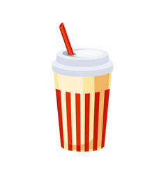 Soft drink in paper cup with straw street fast vector