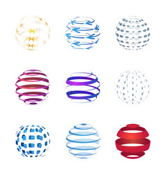 sphere icons set isolated on white background vector image vector image