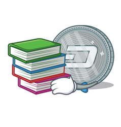 Student with book dash coin character cartoon vector