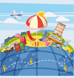 Travel tourism concept global cartoon style vector