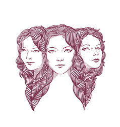triple portrait of beautiful young girls woven vector image vector image