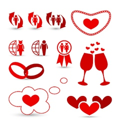 Valentines day infographics and wedding design vector