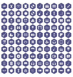 100 musical education icons hexagon purple vector