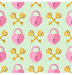 seamless pattern padlock key with heart shape vector image