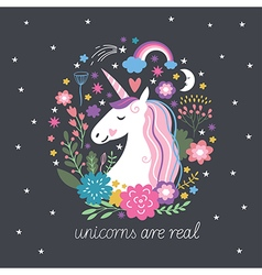 Cute Unicorn with flowers vector image