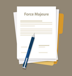 Force majeure clause included in contracts to vector