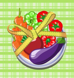 vegetables on a plate with a measuring tape vector image