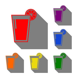 Glass of juice icons set of red orange yellow vector