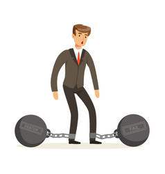 Office worker character with shackles vector