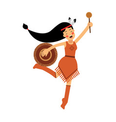 Native american indian girl in traditional costume vector