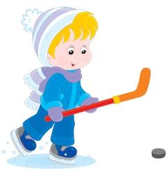 Little hockey player vector