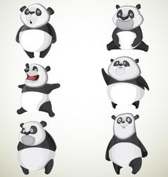 Set of six cute pandas vector