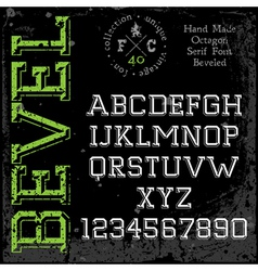 Handmade slab-serif font vector image