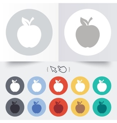 Apple sign icon fruit with leaf symbol vector