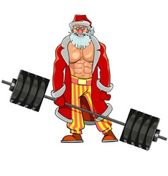 Man with pumped muscles dressed as santa claus vector