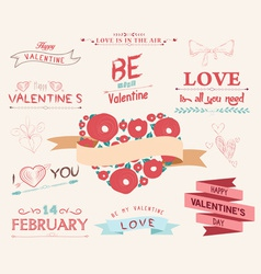 Valentines day set - vintage design elements vector
