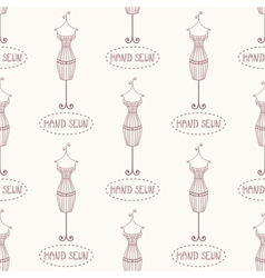 Seamless pattern with vintage iron mannequin vector