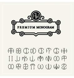 Set template letters to create monograms e vector