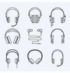 Line headphones icon set vector