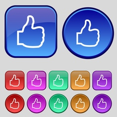Like icon sign a set of twelve vintage buttons for vector