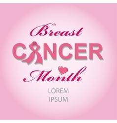 Breast Cancer Awarenes cardbackground vector image