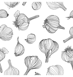 Seamless pattern - garlic vector image