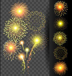 Golden firework set on translucent background for vector