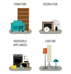 Furniture and home accessories icons vector