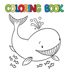 Coloring book of funny whale vector image