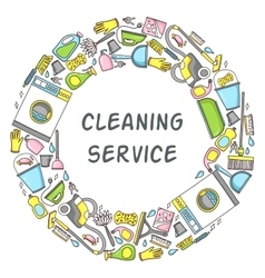 circular doodle of cleaning vector image