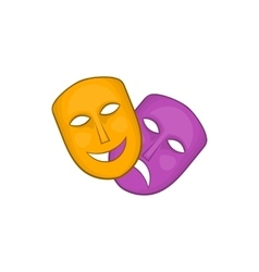 Comedy and tragedy theatrical masks icon vector