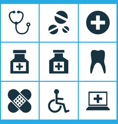 Antibiotic icons set with painkiller drug plus vector