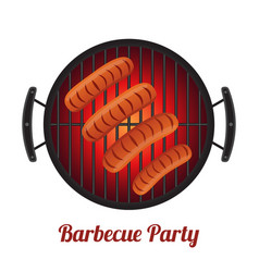Barbecue pan with sausages bbq party banner vector