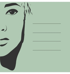 black silhouette of a beautiful girl face vector image