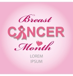 Breast Cancer Awarenes cardbackground vector image