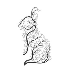 Bunny stylized bushes on a white background for vector