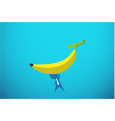 Businessman lifting a banana by one hand vector