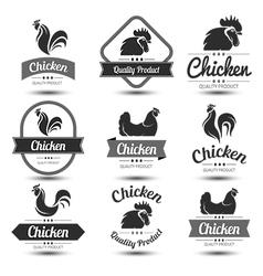 chicken label 3 vector image vector image