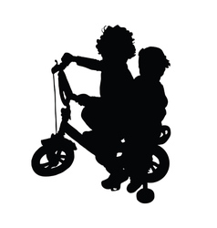 Children on bike silhouette vector