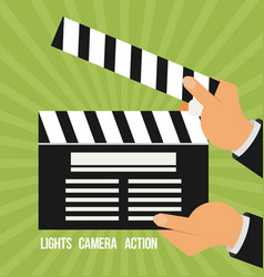 cinema lights camera action flat vector image vector image