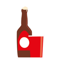 Color silhouette with beer bottle and disposable vector