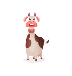 cute funny spotted milk cow cartoon vector image