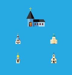 Flat icon christian set of church religious vector