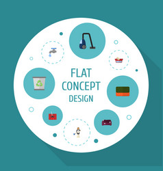 Flat icons housewife faucet carpet vacuuming and vector