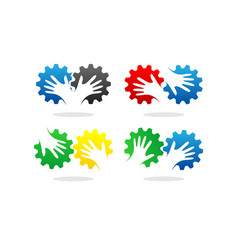 gear and hand logo vector image vector image